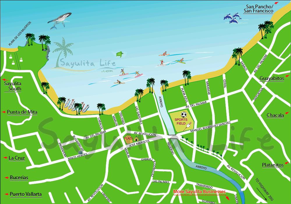 map with activity key sayulita mexico pinterest
