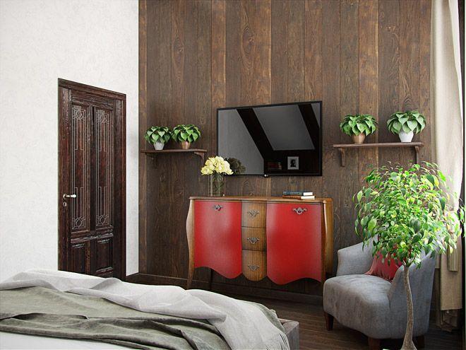 Спальня. Интерьер загородного дома с элементами стиля Шале во Всеволожске