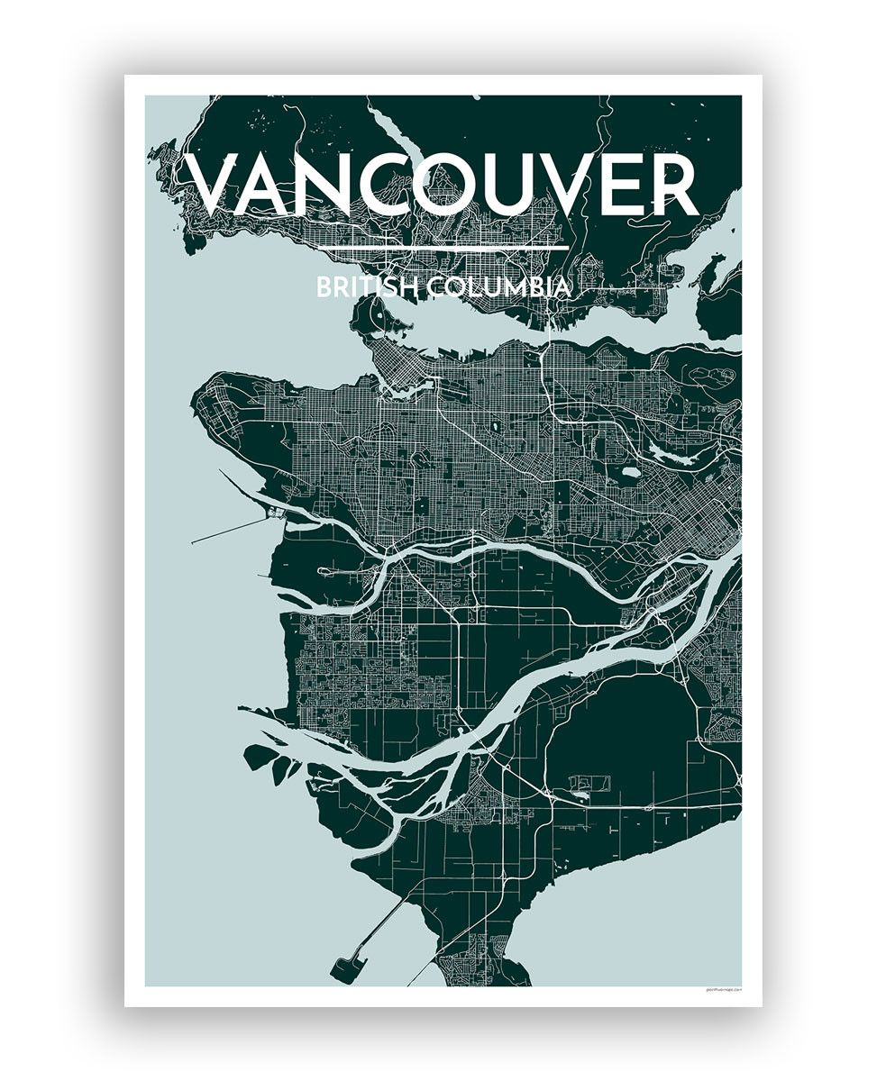 Poster design vancouver - Point Two Design Vancouver City Map Print 36 Unframed
