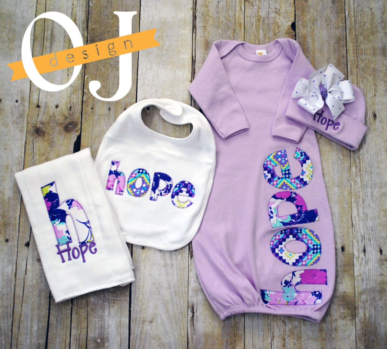 Personalized Baby Girl Gift Set Newborn Gift Set Infant Gown