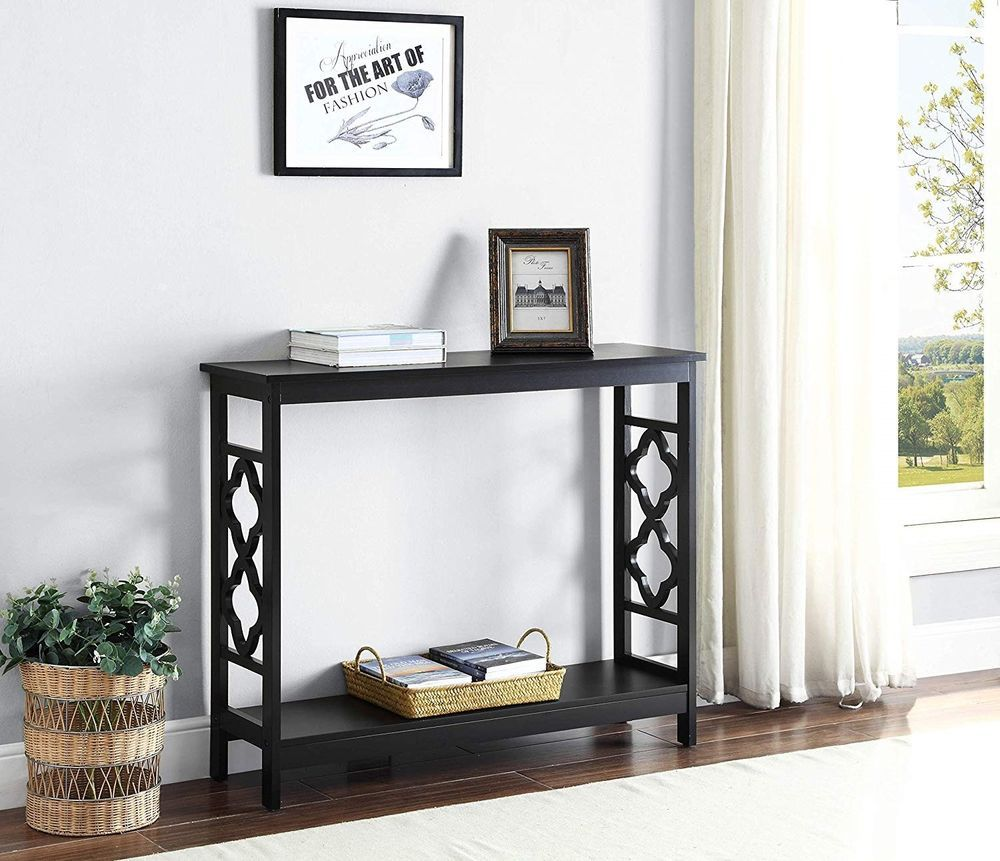 Black sofa table furniture console modern accent wood entryway