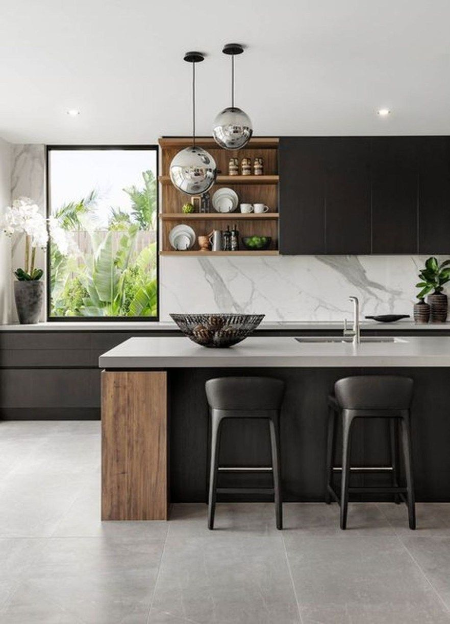 50 Stunning Modern Kitchen Design - SWEETYHOMEE
