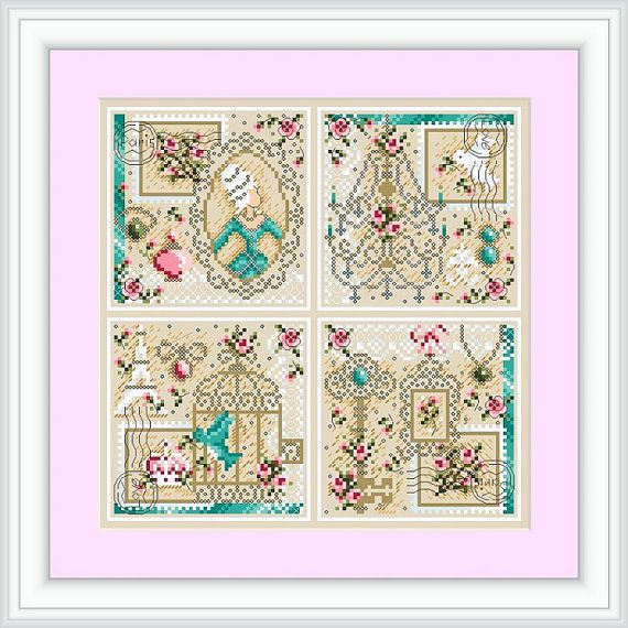 Shabby Chic Cross Stitch Pattern Design Paris by . ShannonChristineW . Actually looks so much better stitched