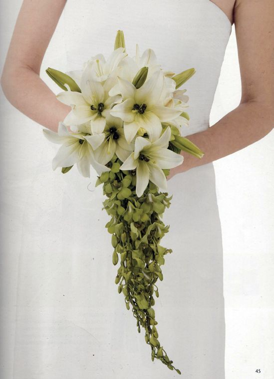 Diy Cascading Lily Orchid Wedding Bouquet Lily Bouquet Wedding