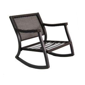 Allen Roth Netley Brown Steel Slat Seat Patio Rocking Chair