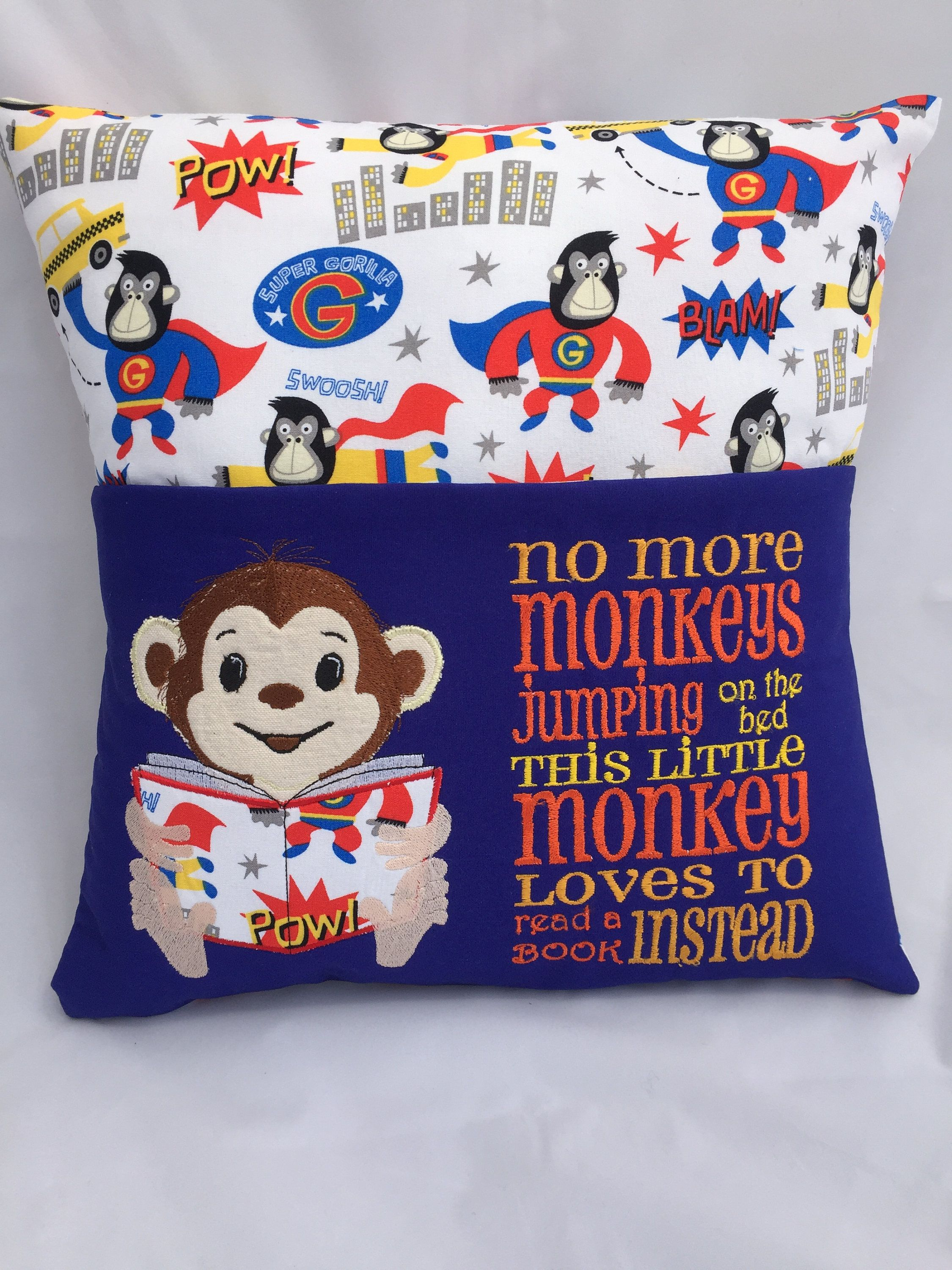Pillow, Reading pillow, Book pocket, Childs reading pocket ...
