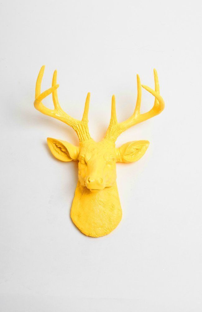 Mini Yellow Faux Deer Head Wall Mount - The Mini Pablo By White Faux ...