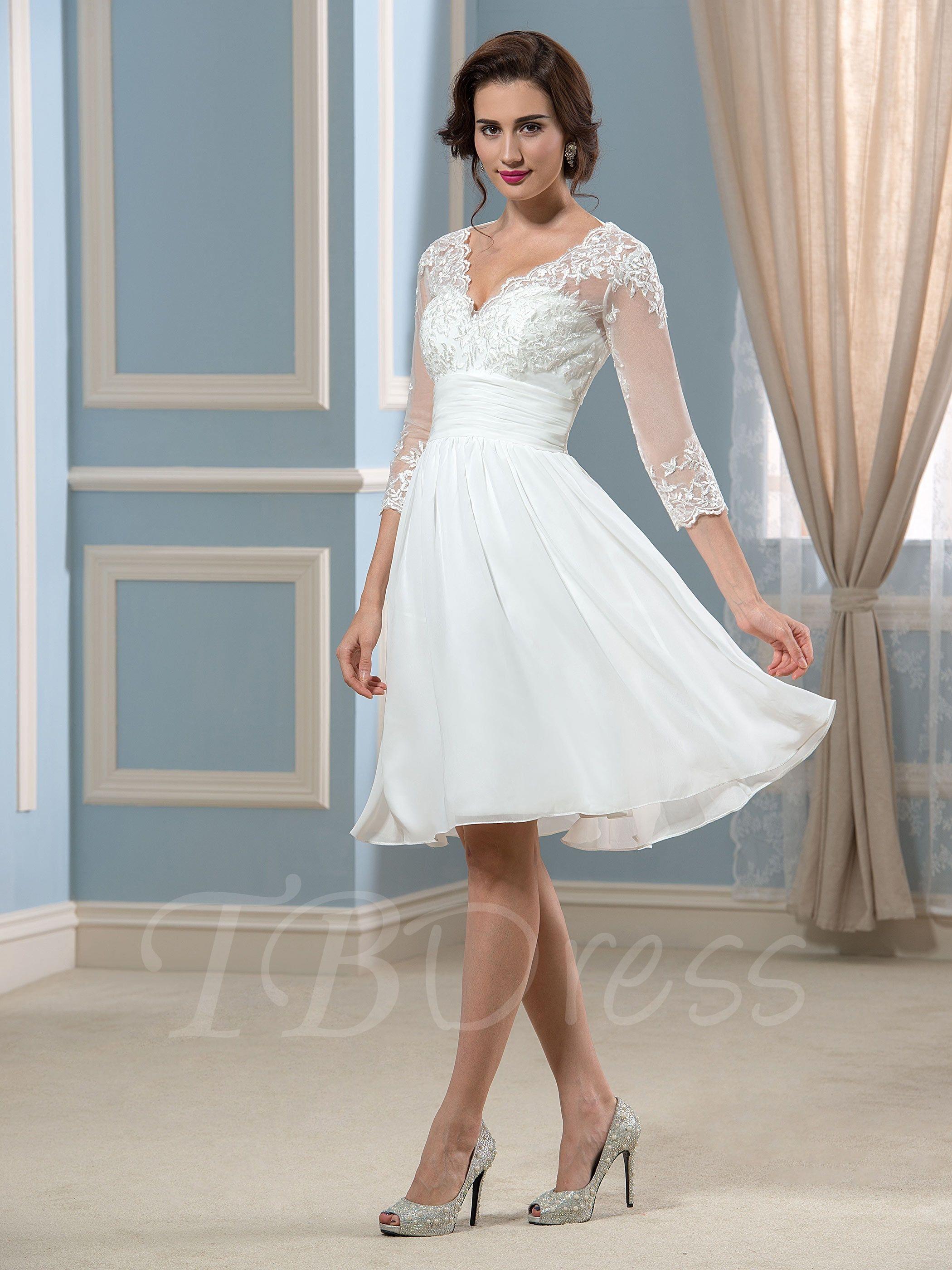 Lace 34 length sleeve short beach wedding dress knee length lace 34 length sleeve short beach wedding dress junglespirit Choice Image
