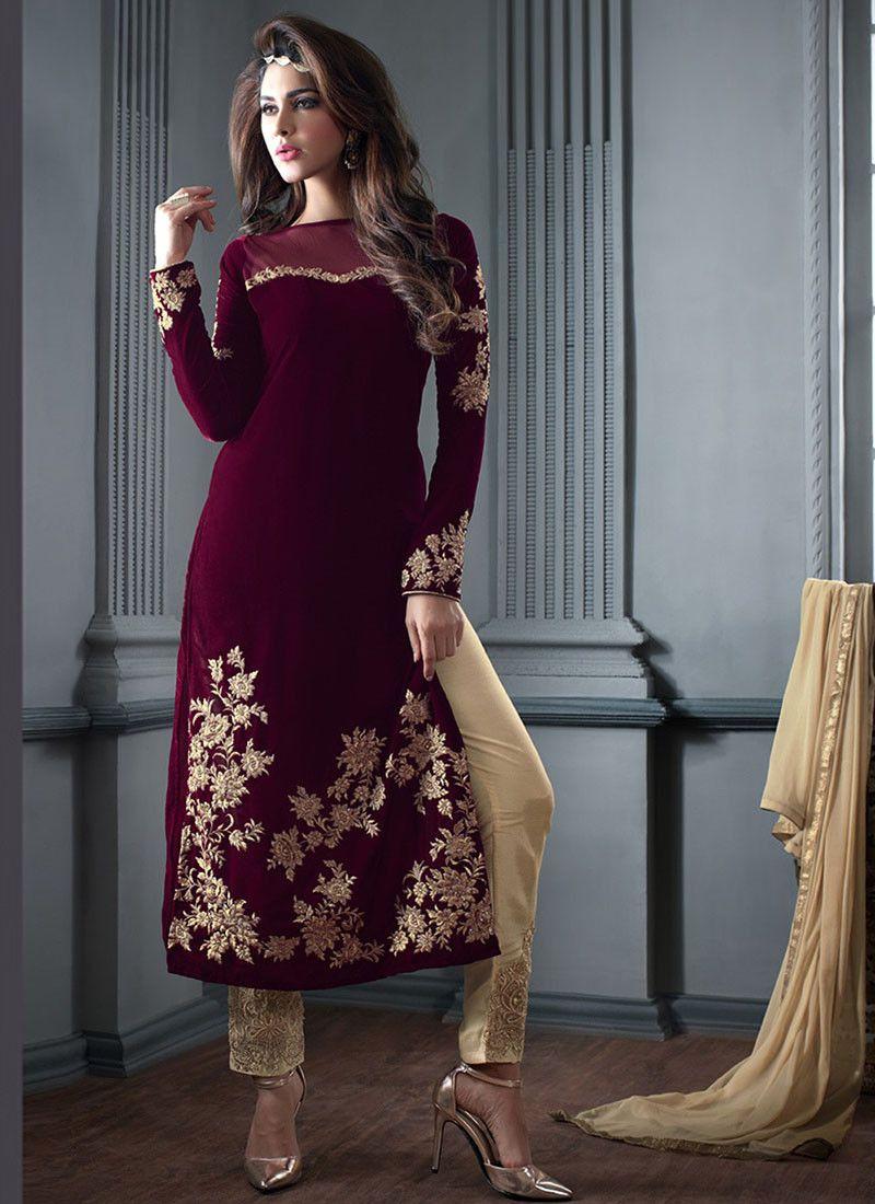 superb indian velvet dresses design (13) | indische