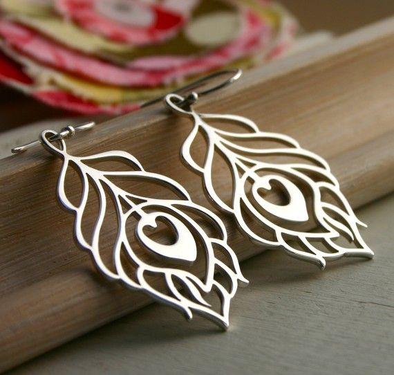 Peacock earrings - Large - sterling silver jewelry