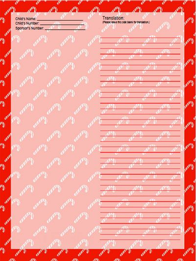 Candy Cane Stationery Template For Sponsored Child From