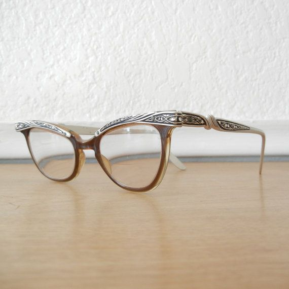 1950s Horn Rimmed Cat Eye Glasses, Aluminum Frames