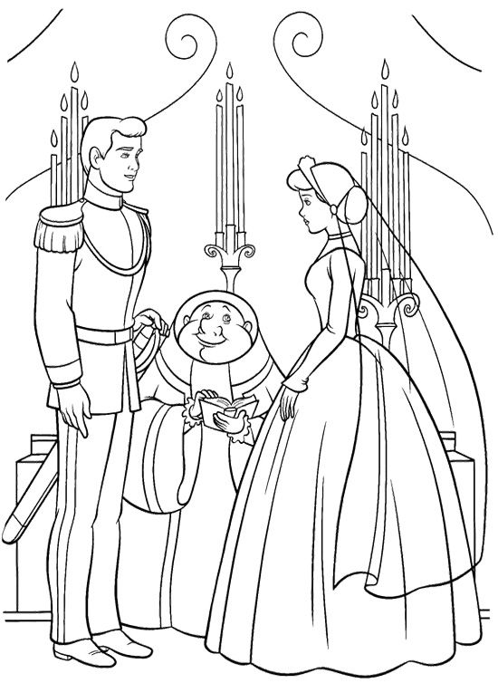 Cinderella And Prince Married Coloring Page Cinderella Coloring