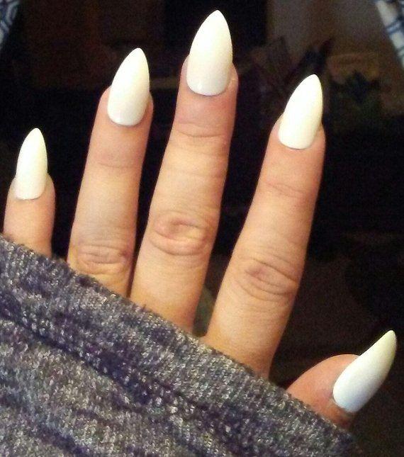 Matte Solid Pure White Stiletto Fake Nails Almond Pointed