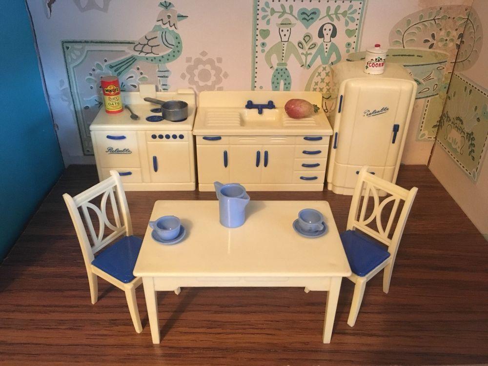 Reliable Complete Kitchen Set Vtg Dollhouse Furniture