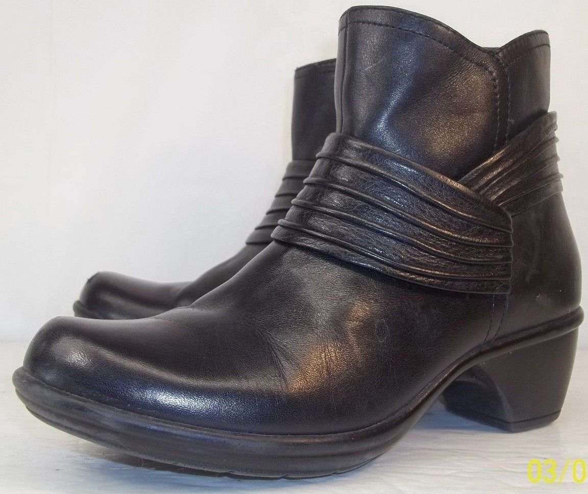 46.50$  Watch now - http://viilj.justgood.pw/vig/item.php?t=1tj3bu8776 - Clarks Bendables 36797 Womens US 6M Black Leather Zip-Up Casual Heel Ankle Boots 46.50$