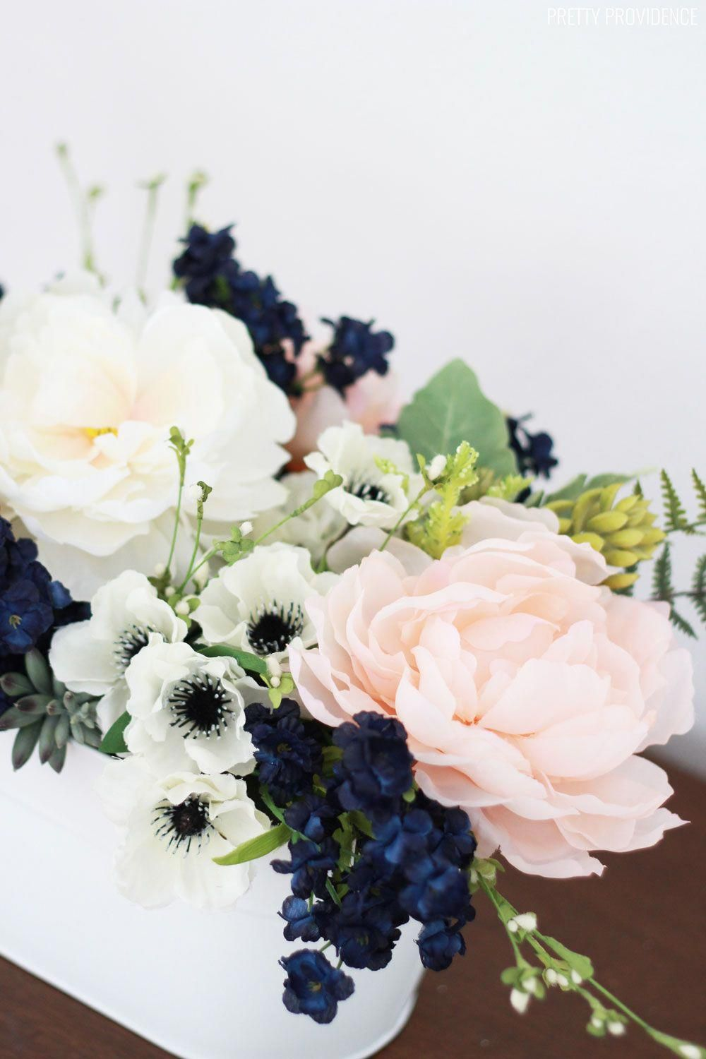 Navy, pink peonies and succulents arrangement for a