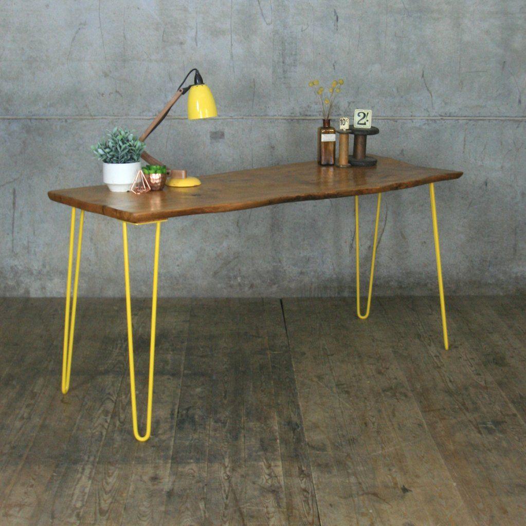 Waney Edge Elm Hairpin Table/Desk