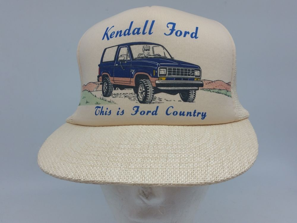 74d37b0094f9b Kendall Ford Country Bronco 80s 90s Mesh Burlap Dealer Snapback Trucker Hat  Vtg  ColoramaProducts  TruckerHat