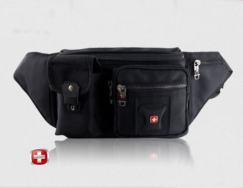 544536eb23f7 Mens Swiss Famous Brand Logo Canvas Waist Pack Bag Travel Belt Edc ...