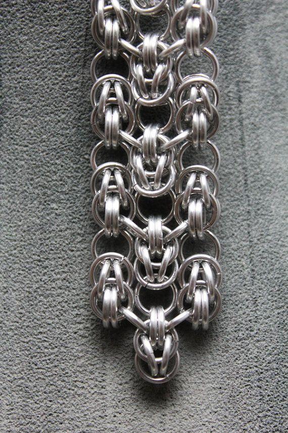 Sleek and Shiny Aluminum Chainmail Earrings by EchelonsOfElliott