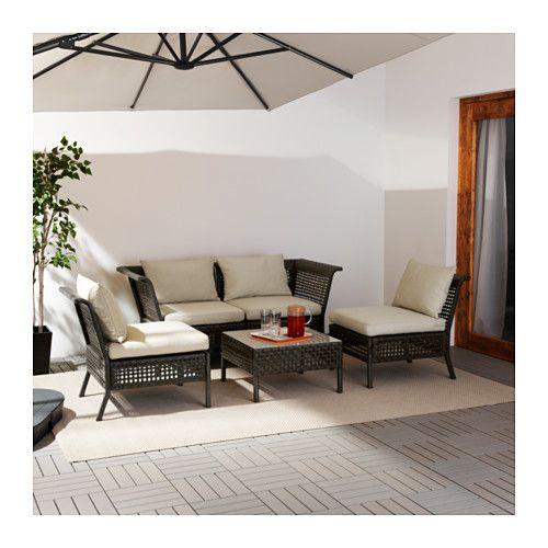KUNGSHOLMEN / HÅLLÖ 4-seat conversation set, outdoor, black-brown, beige black-brown/beige