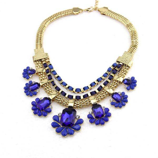 Beautiful Women Navy Blue Gold Statement Necklace [N1102] - $10.88 ...