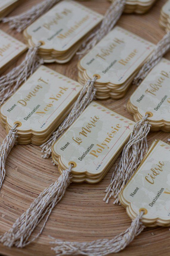Marquez la place dans l'étiquette de bagage, pour le dîner de mariage, …   – Faire-parts & messages / Announcements & messages