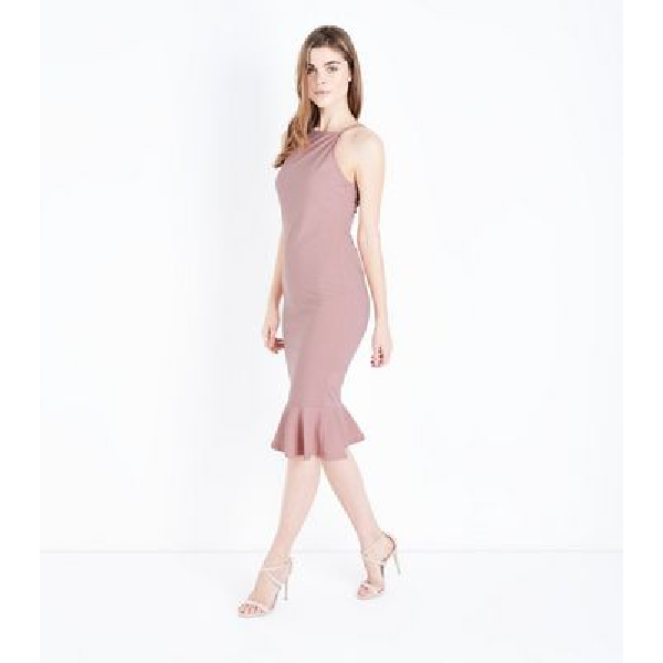 d8592f4af0ba AX Paris Pink Frill Hem High Neck Midi Dress New Look | Dresses in ...