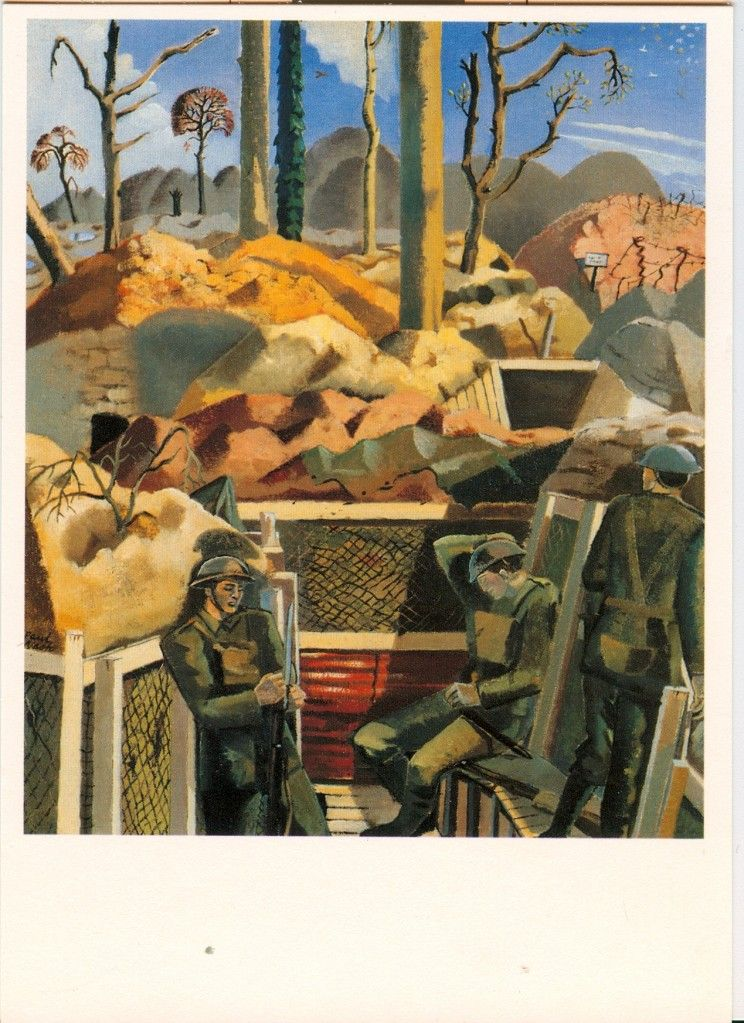 Paul Nash: Spring in the Trenches, Ridge Wood, 1917...It has a less bleaker ,damper ,moodier feel to it than the winter trench ..though i think the darker ones represent the mood of the war more accurately.