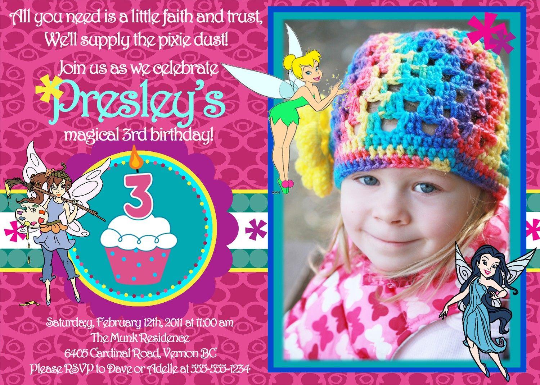Free Printable Tinkerbell 1st Birthday Invitations | 3rd bday ...