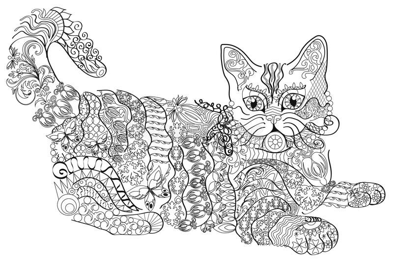 Coloring Book Anti Stress Cat Colour Therapy White Background Stock Illustration Anti Stress Coloring Book Stress Coloring Book Owl Coloring Pages