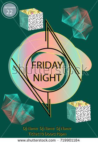 Friday Night Party Poster Template With Geometric Colorful Objects