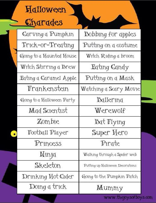 charades names - Names For A Halloween Party