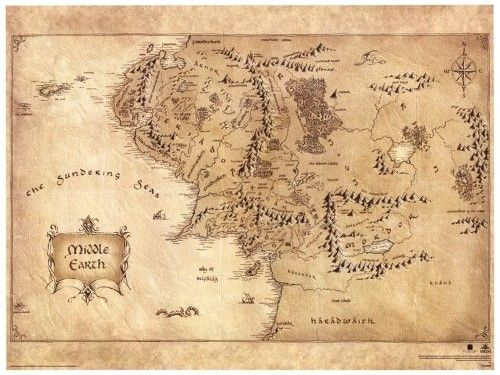 The Hobbit Middle Earth Map Movie Poster Masterprint 16 X 12in