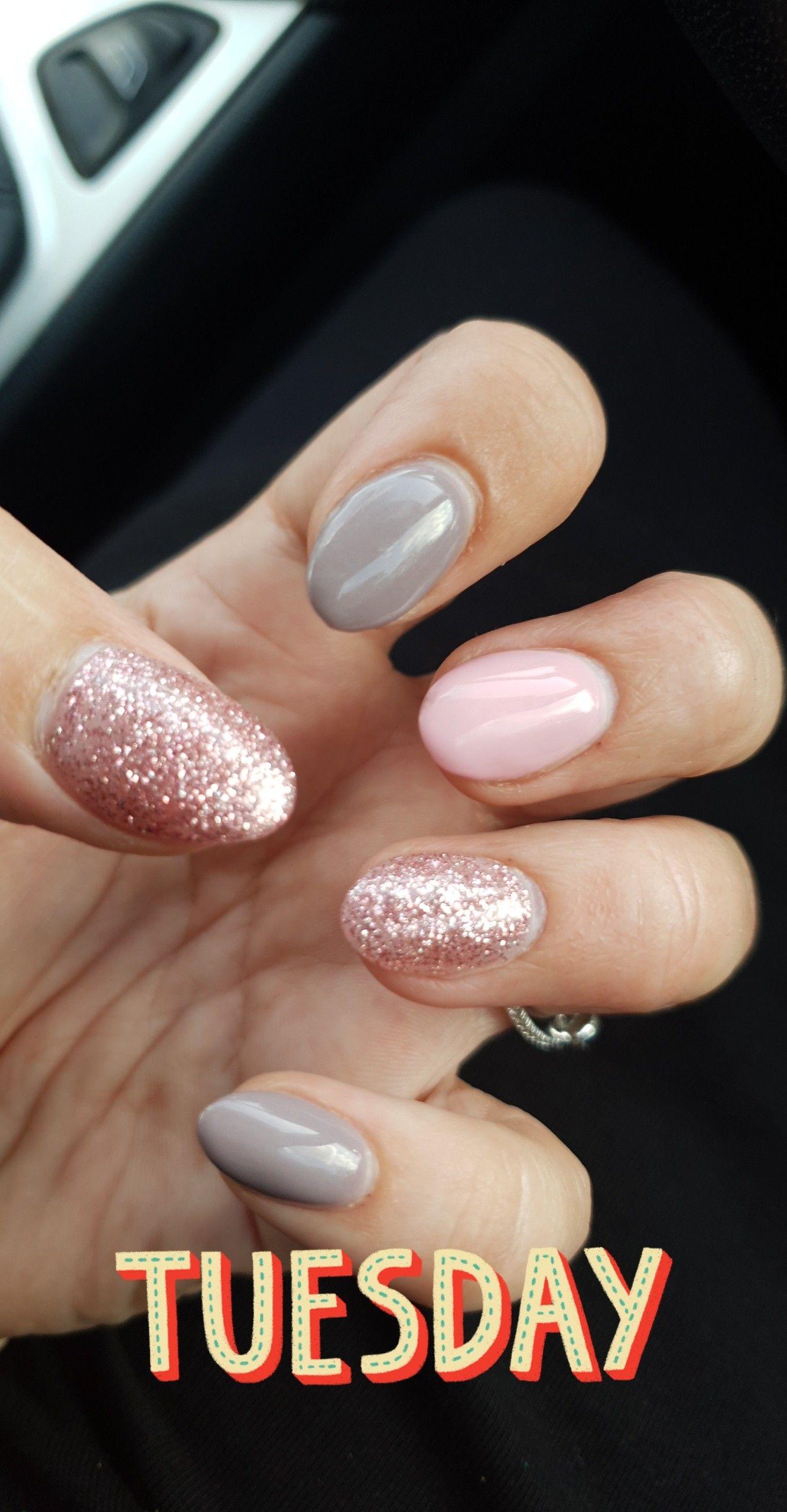 Girly pink grey rose gold nails
