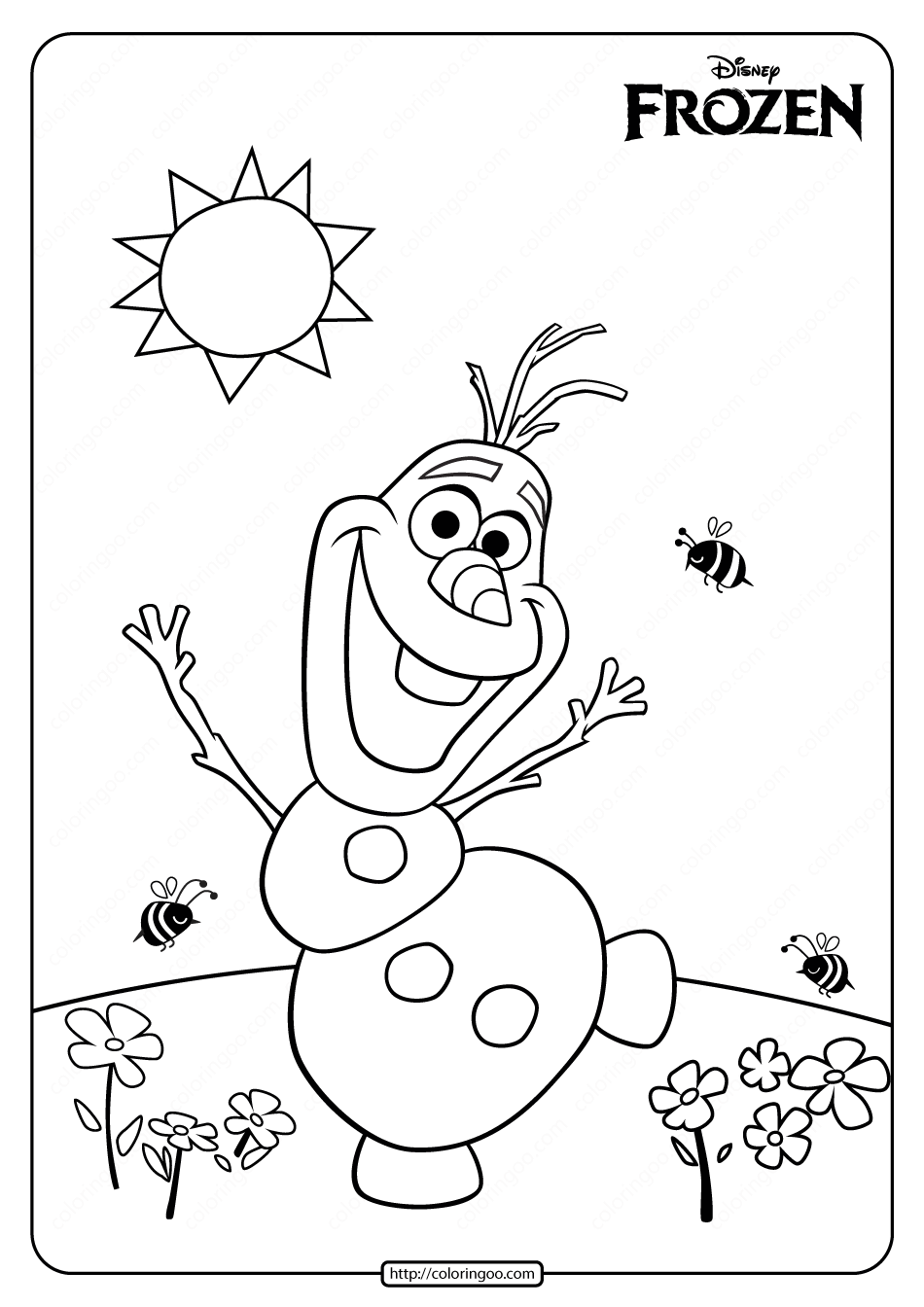 Printable Disney Frozen Olaf Summer Coloring Page Frozen Coloring Pages Frozen Coloring Elsa Coloring Pages