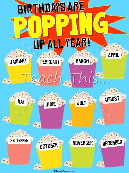 Popcorn Birthday Chart Poster