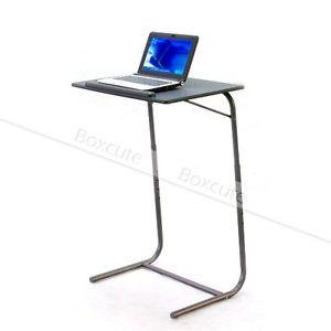 Portable Table Adjustable TV Dinner Laptop Tray Folding Fold Tables Desk  Black | EBay