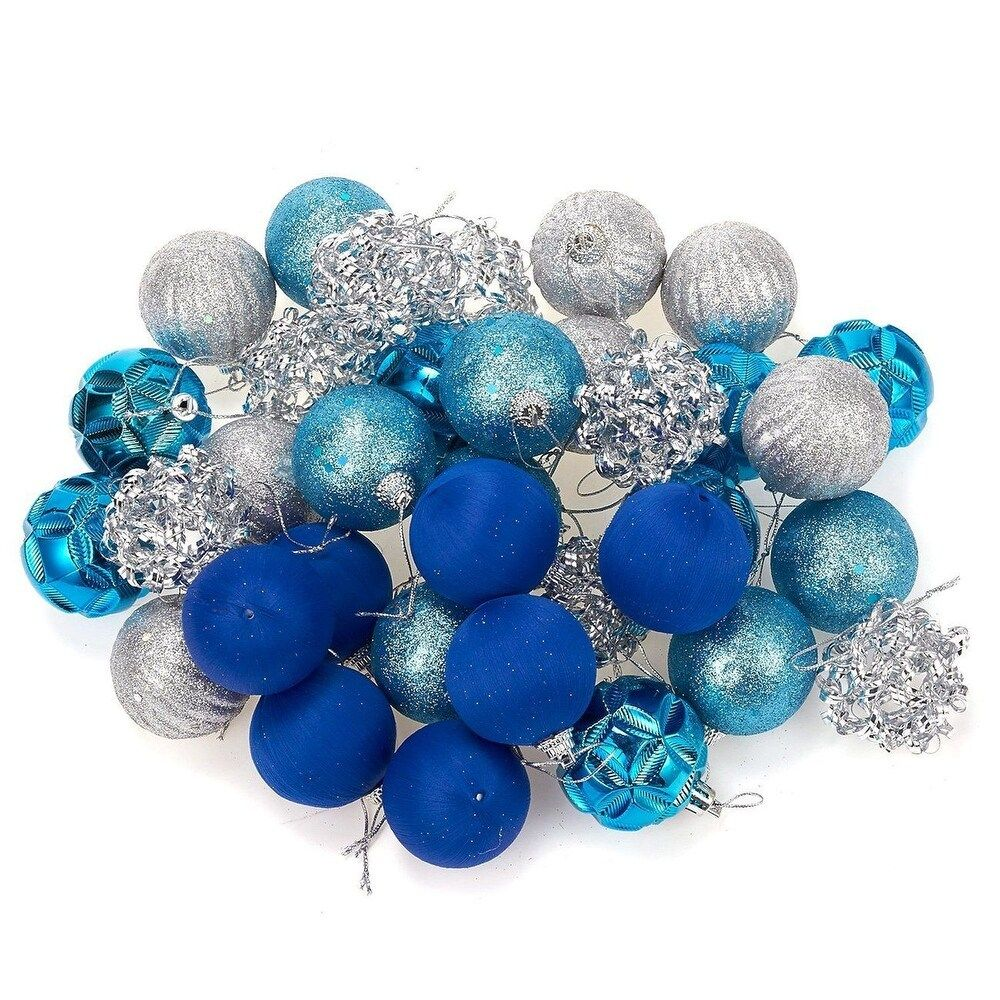 Product Description 1 X Decorations Juvale 35-Pack Christmas Tree Decorations - Glittery Hanging Xmas Ornaments in 5 Assorted Designs - Perfect Festive DecorEmbellishments for Hanging, Blue, Silver FESTIVE DESIGN: Each metallic colored ornament adds a tinge of elegance to your Christmas tree and provides a more festive atmosphere to your home or store. ENHANCE YOUR CHRISTMAS D?COR: Use the attached string to add these decorative attachments to your Christmas tree, doors, windows or place them in