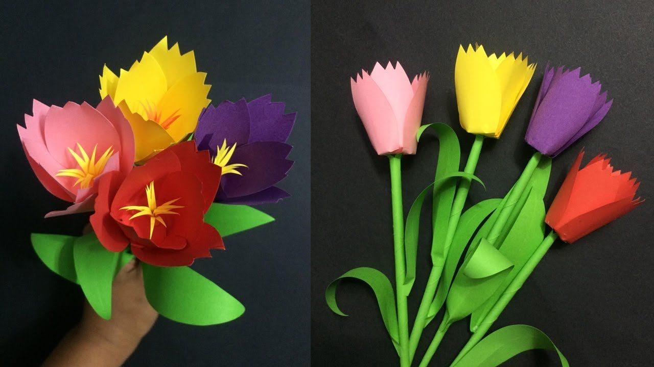 How To Make Paper Tulip Flower Making Paper Flowers Step By Step Diy Paper Flowers Paper Crafts Diy How To Make Paper Flowers