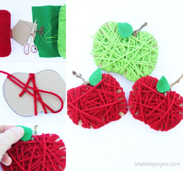 Photo of Cardboard Yarn Apples – One Little Project
