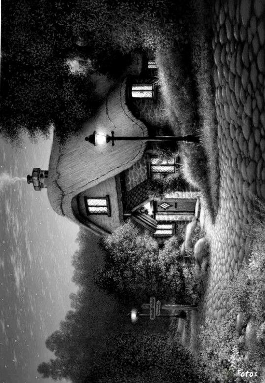 Thomas Kinkade Grayscale Coloring Grayscale Art Landscape Sketch