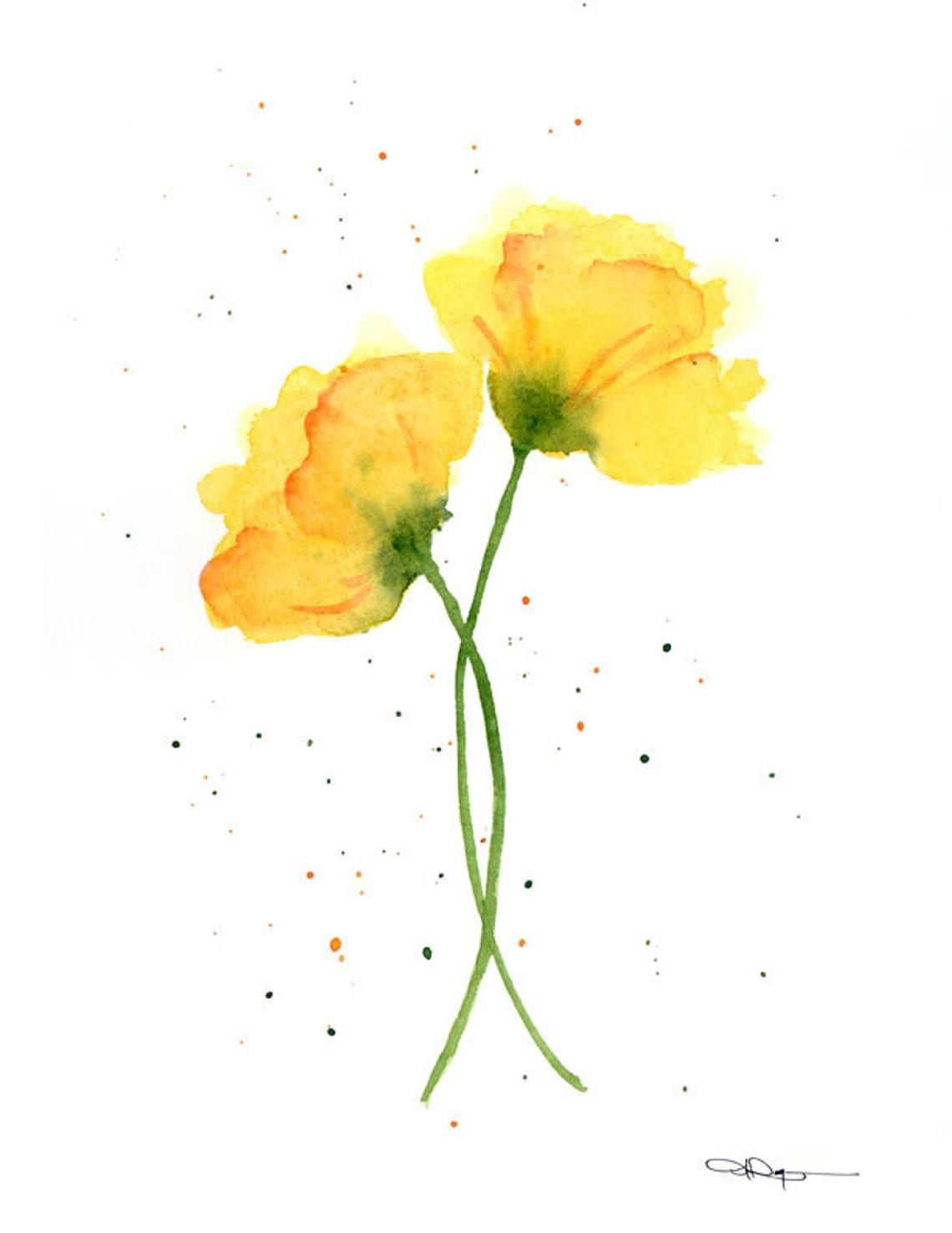 Yellow Poppies Art Print Flower Wall Decor Floral Watercolor