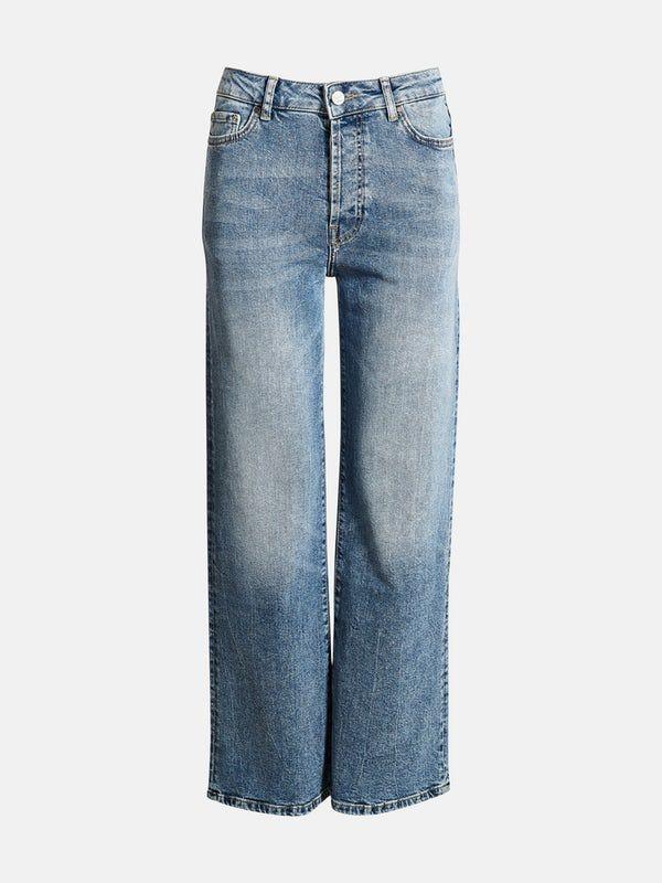 Photo of Jeans med høyt liv og vide ben i comfort stretch denim. Gylf med knapper. Benle…