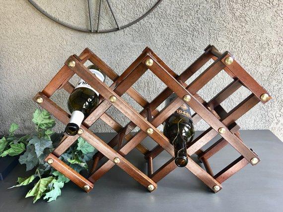 Wood Accordion Wine Rack Tabletop