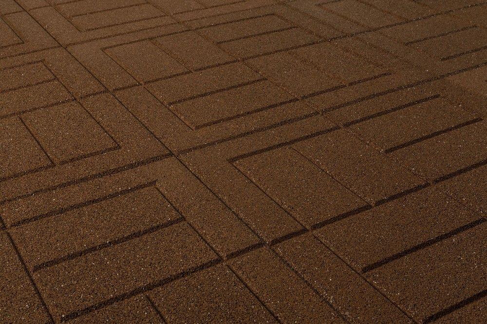 Outdoor Interlocking Rubber Pavers - Teak Brown Pigment - Brick / 24