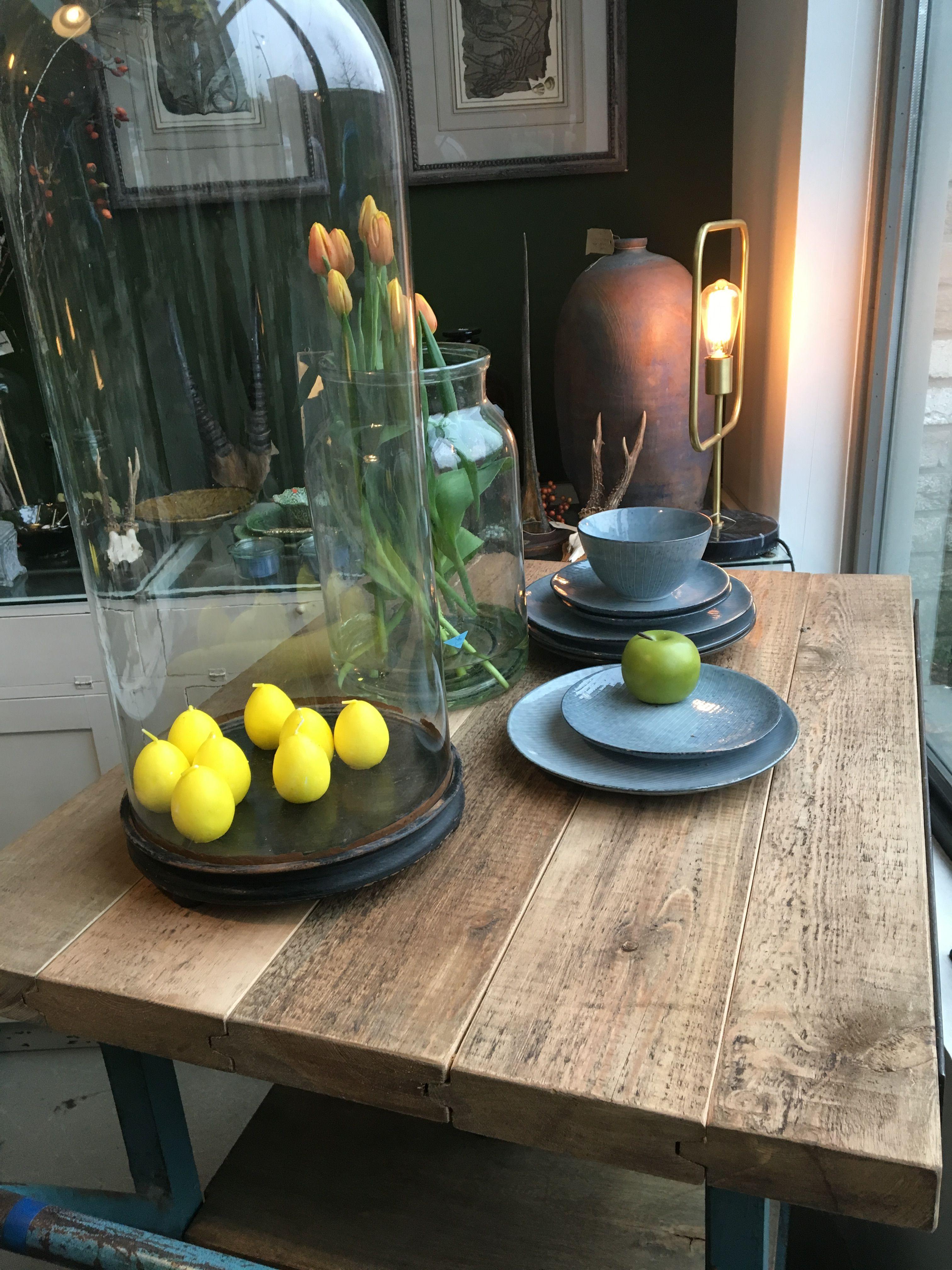 Mooie Grote Oude Glazen Stolp Op Houten Voet Afmetingen