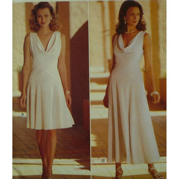 Draped Gown Pattern: Bias Cut Dress Pattern, Draped Neck, Fitted Bodice, Flared