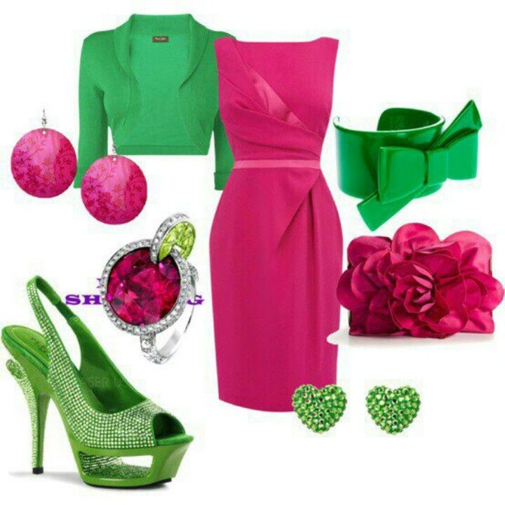 pink and green outfit, dress, jacket, shoes, accessories   Pink ...
